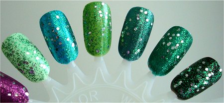 OPI Fresh Frog of Bel Air Layered Over Other Colors Swatches