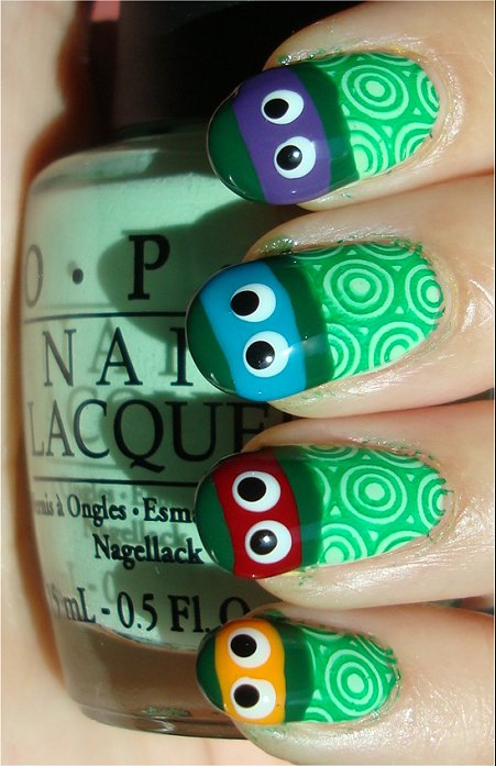 Teenage Mutant Ninja Turtle Nails Tutorial & Swatches