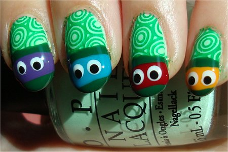 Teenage Mutant Ninja Turtles Nails Nail Art Tutorial & Photos