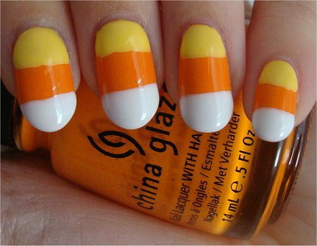 Candy Corn Halloween Nail Art Tutorial