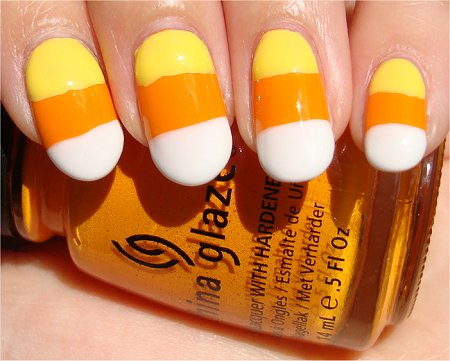Candy Corn Nail-Art Tutorial & Swatches