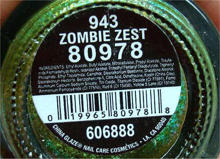 China Glaze Zombie Zest Ingredients