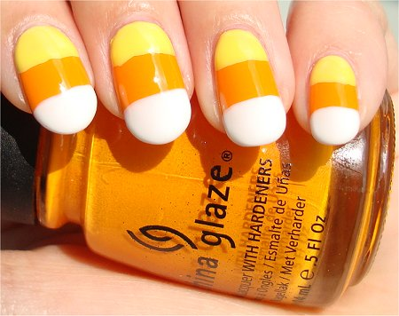 Easy Halloween Nails Candy Corn Nail Art & Tutorial