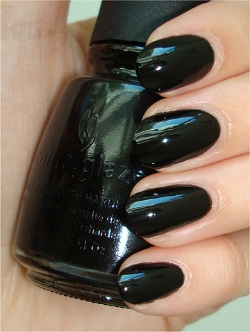 Flash China Glaze Black Nail Polish Swatches & Review