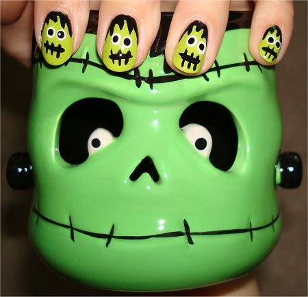 Flash Frankenstein Nails Halloween Nail Art Tutorial