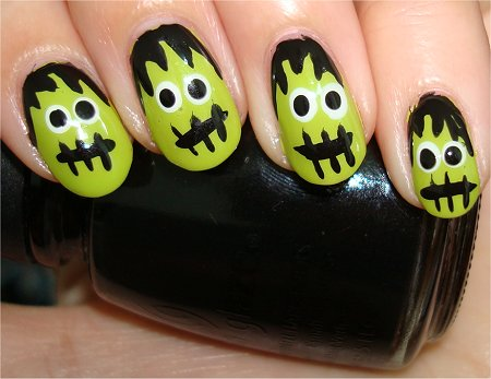 Flash Nail Art Frankenstein Nails Tutorial & Photos