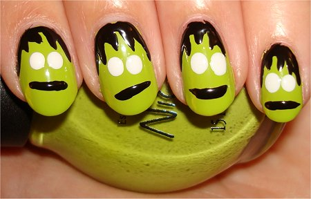 Frankenstein Nail Art Step 4