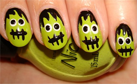 Nail art tutorial frankensteins monster nails swatch and learn frankenstein nail art step 6 prinsesfo Gallery