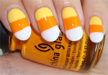 Halloween Candy Corn Nail Art Tutorial & Swatches