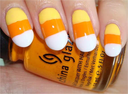 Halloween Candy Corn Nails & Tutorial Flash