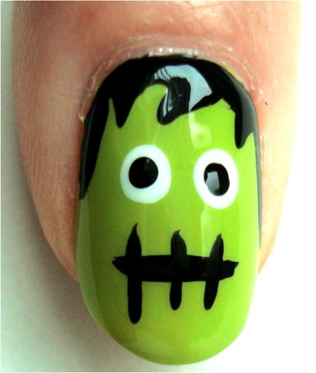 Natural Light Frankenstein Monster Nail Art Tutorial & Photos