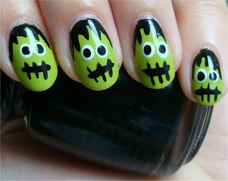 Natural Light Frankenstein Nail-Art Tutorial & Pics