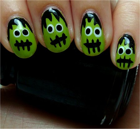 Natural Light Frankenstein Nails Halloween Tutorial