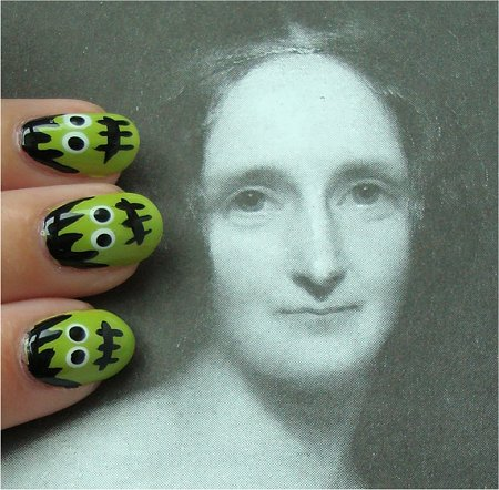 Natural Light Frankenstein Nails Nail Art Tutorial & Pictures