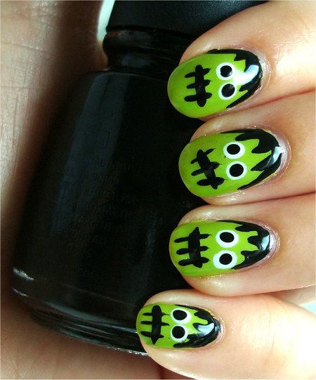 Natural Light Hallowe'en Nail Art Tutorial Frankenstein Nails