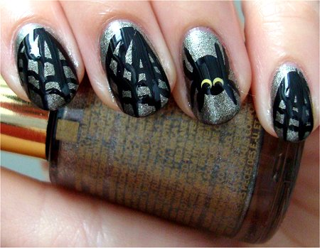 Natural Light Spider Nails Nail Art Tutorial & Photos