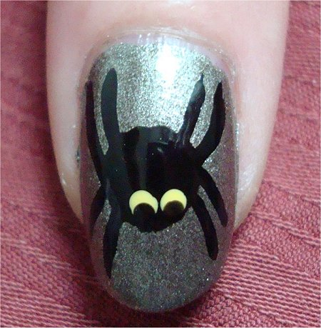 Natural Light Spider & Web Nails Nail Art Tutorial & Pictures