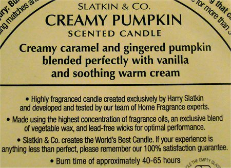 Slatkin and Co. Creamy Pumpkin Scented Candle Review & Pictures