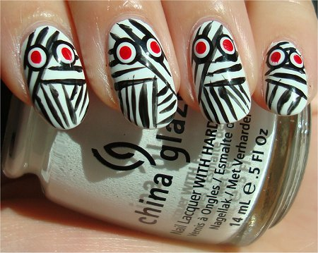 Sunlight Halloween Nail Art Mummy Nails Tutorial