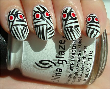 Sunlight Mummy Nails Halloween Nail Art Tutorial