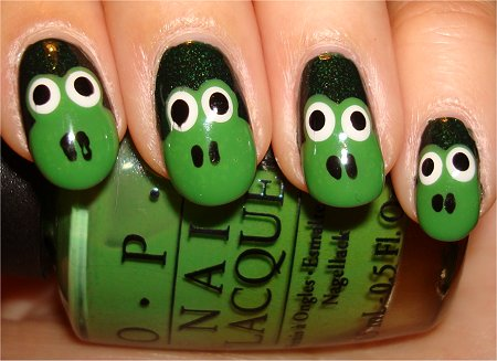 Flash Green Frog Nails How to Tutorial & Pics