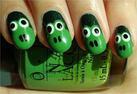 Green Frog Face Nail Art Tutorial & Photos