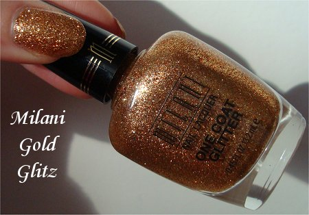 Milani One Coat Glitter Gold Glitz Swatches & Review