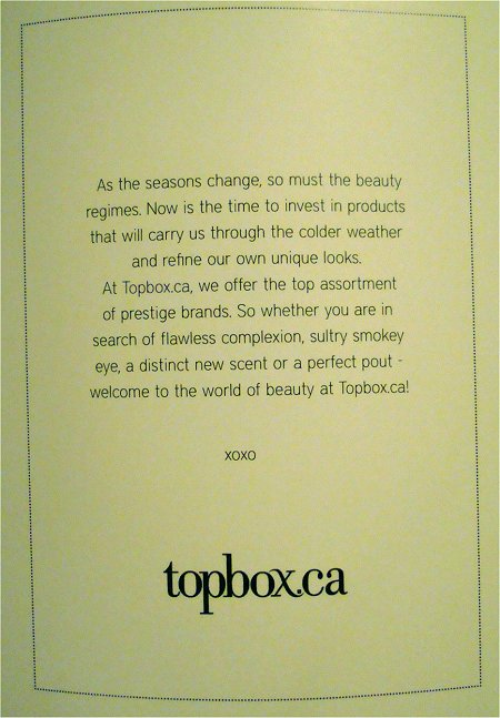 November 2011 Topbox.ca Review Card Picture