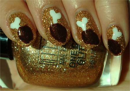 Sunlight Chicken Drumstick Nails Nail-Art Tutorial & Photos