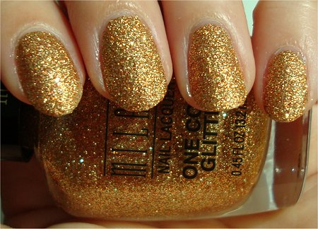 Sunlight Milani Gold Glitz Glitter One Coat Swatches &amp; Review