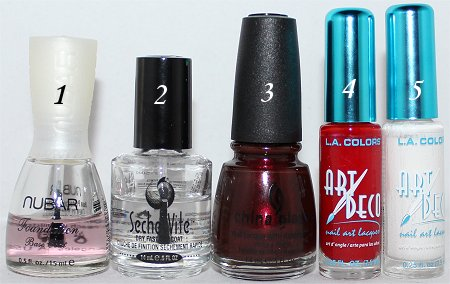 Candy Cane Nail-Art Tutorial Supplies