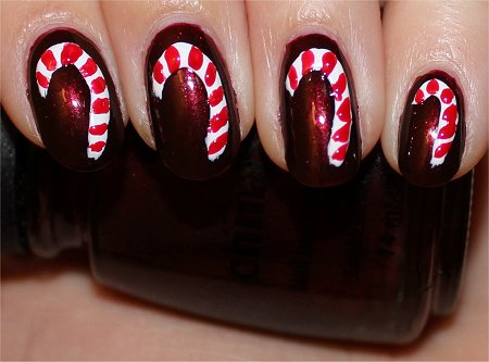 Candy Cane Nails Nail Art Tutorial Step 4