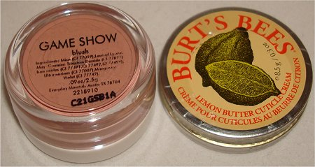 Everyday Minerals Game Show Blush & Burt's Bees Lemon Butter Cuticle Cream Pictures