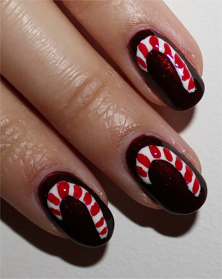Flash Candy Cane Nails Nail-Art Tutorial & Step by Step Instructions & Pics
