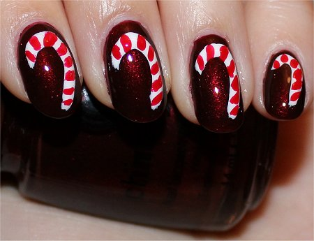 Flash Christmas Candy Cane Nails Nail Art Tutorial &amp; Swatches