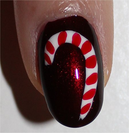Flash Christmas Nail Art Candy Cane Nails Tutorial & Photos