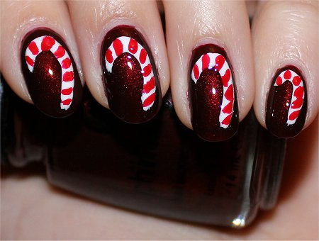 Flash Christmas Nails Candy Cane Nail Art Tutorial & Pictures