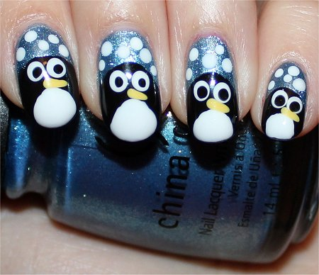 Flash Cute Penguin Nail Art Nail Swatches