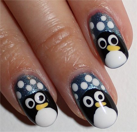 Flash Cute Penguin Nail-Art Tutorial Easy Nail Art