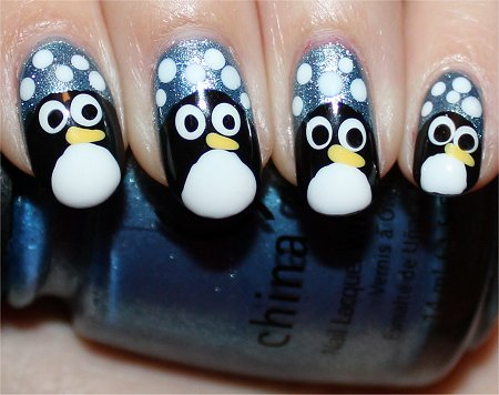 Flash Cute Simple Penguin Nails Nail Art Tutorial
