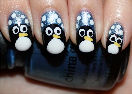 Flash Easy Winter Nail Art Penguin Nails