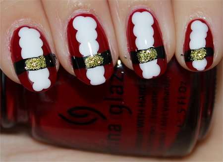 Flash Santa Claus Nails Nail-Art Tutorial & Step-by-Step Instructions