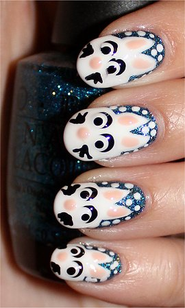 Flash Snow Bunny Rabbit Nails Nail Art Tutorial & Pictures