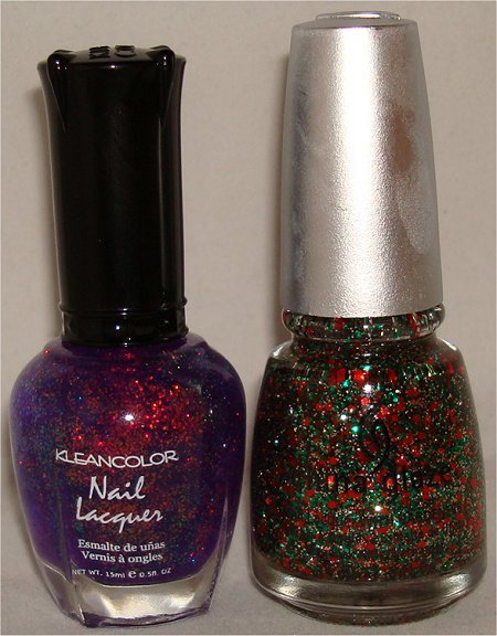 KleanColor Chunky Holo Purple & China Glaze Party Hearty Pictures