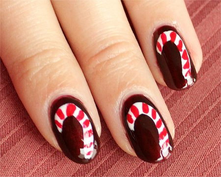 Natural Light Candy Cane Nail Art Nails Tutorial & Pics