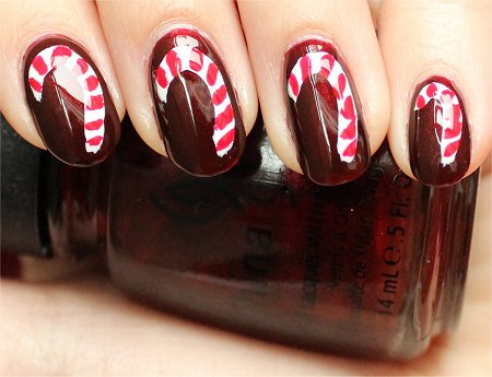 Natural Light China Glaze Branding Iron Swatch Candy Cane Nails Nail-Art Tutorial