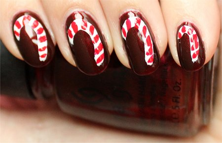 Natural Light Christmas Candy Cane Nail Art Nails Tutorial