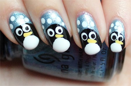 Natural Light Easy Penguin Nails