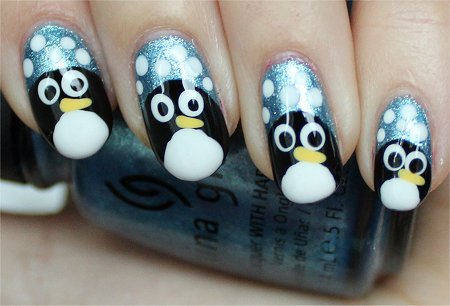 Natural Light Easy Winter Nail Art Penguin Nails
