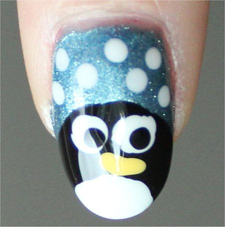 Natural Light Penguin Nail Art Winter Nails